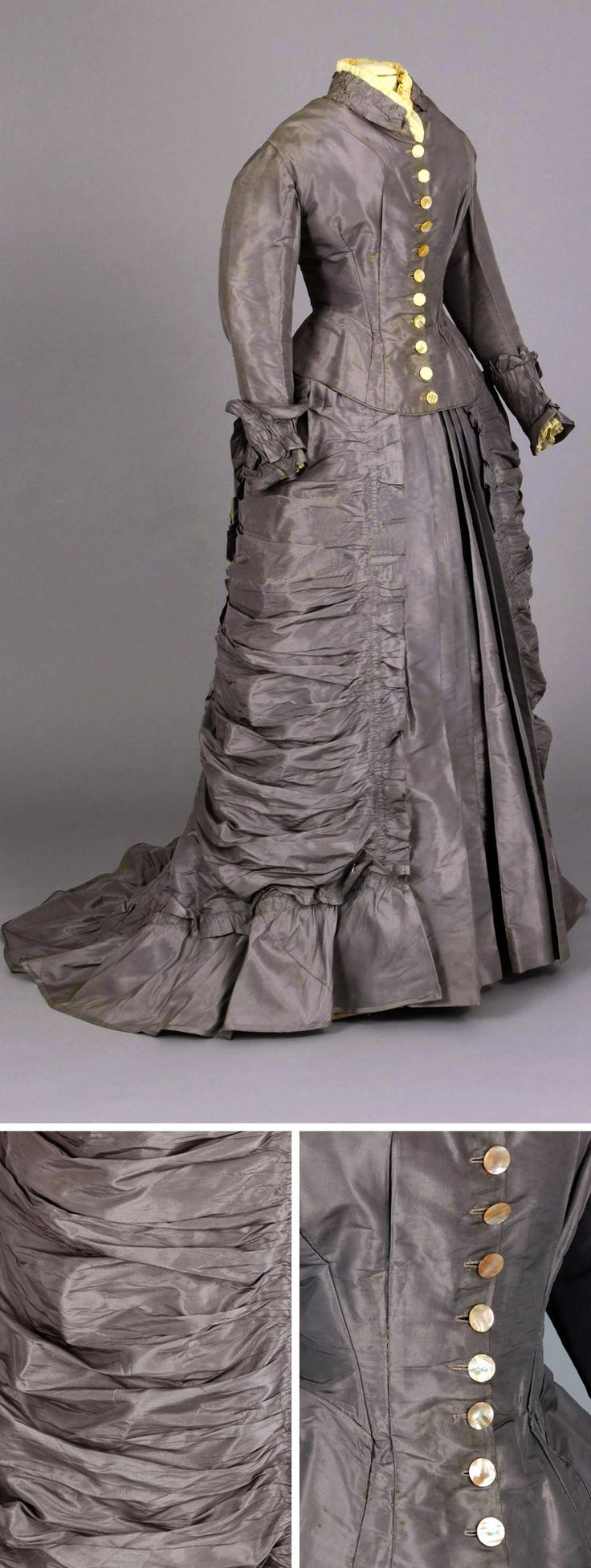 Wedding dress, 1875. Bodice has pointed peplum in back and 11 mother of pearl buttons down center front. Skirt features ruched panels that extend from the hips down the sides and a bustle accented with a bow. Chester County (PA) Historical Society