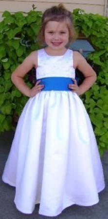 White Flower Girl Dress - Embroidered Satin.