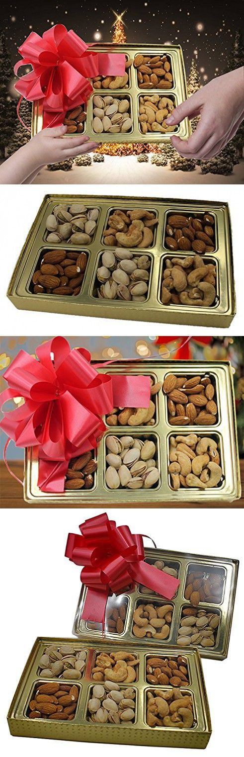 Gourmet Holiday Mixed Nut Gift Basket, 3 Assorted Salted Nuts, Pistachios, Almonds, Cashews