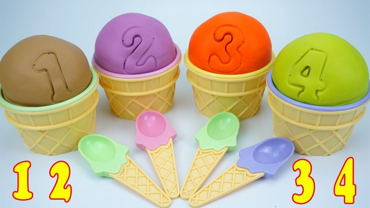 Learn Colors And Number With Play Doh Ice Cream Eggs Surprise Toy Superh...