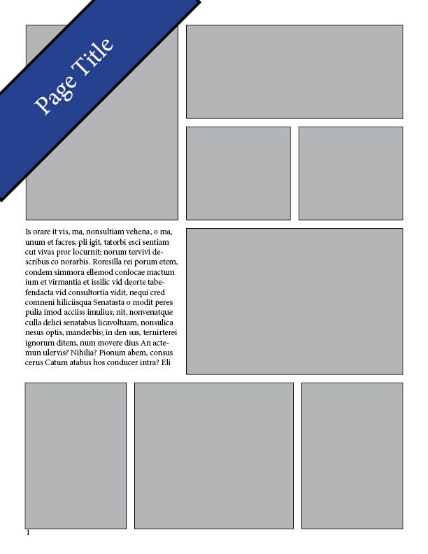 """Yearbook layout we used in 2011, with a nifty title banner. """"Yearbook Layout Template: 45 Degree Rotated Title"""""""