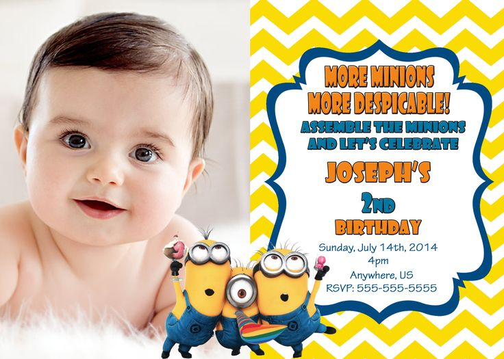 28 best despicable me 2 movie birthday invitations and party despicable me 2 birthday chevron invitations 899 filmwisefo Image collections