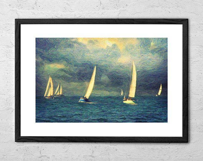 Chios - Impressionist Painting - Sailboat Painting - Seascape - Mediterranean - Nautical Decor - Coastal Wall Art - Ocean Print - Sailing