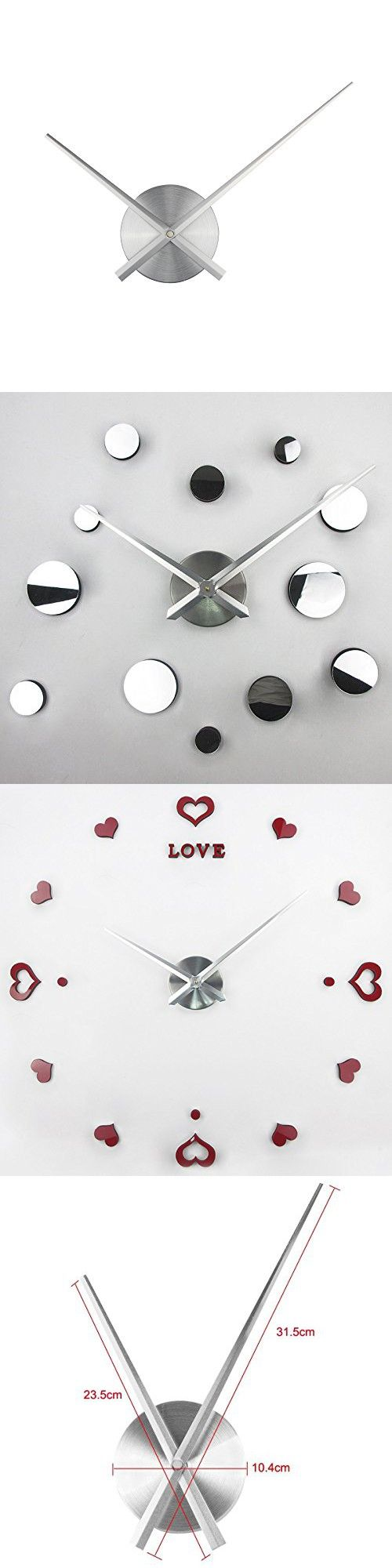 Best 25 large silver wall clock ideas on pinterest clocks wall 3d clock hands timelike diy large clock hands needles wall clocks 3d home art decor amipublicfo Gallery