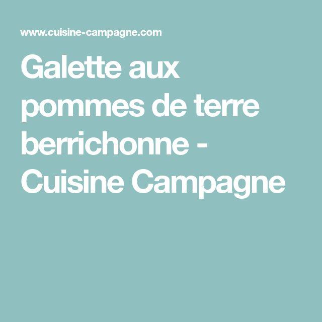 Galette aux pommes de terre berrichonne - Cuisine Campagne