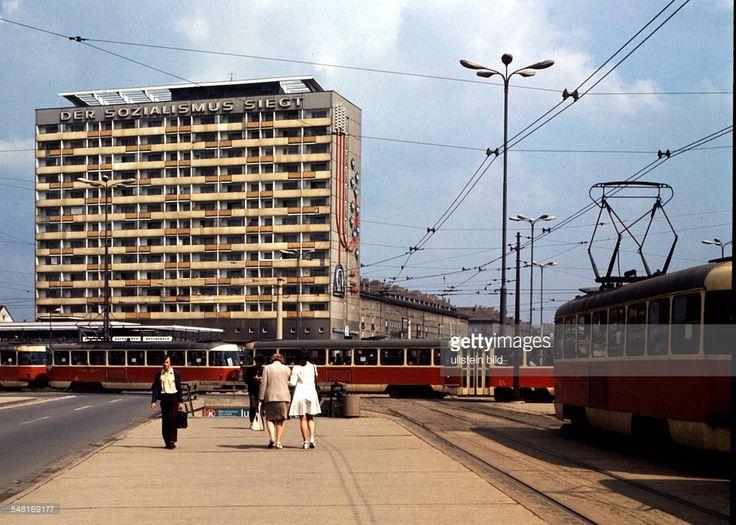 Germany Saxony Dresden - 'Plattenbau' building with the slogan 'Socialism will win'. 1973