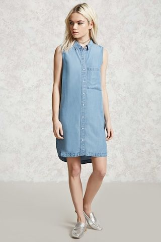 Sleeveless Chambray Shirt Dress - Women - New Arrivals - 2000305361 - Forever 21 Canada English