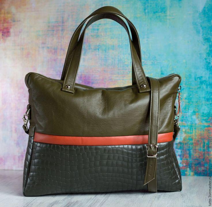 Купить Кожаная сумка , кожаный портфель - Фортуна ( хаки ). - классический стиль
