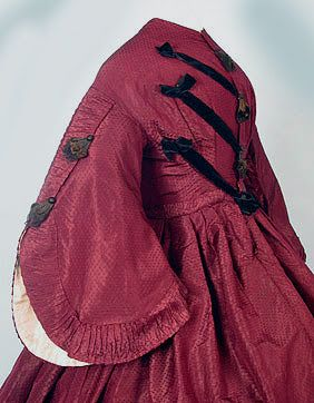 Maroon silk day dress, ca. 1860s. | In the Swan's Shadow