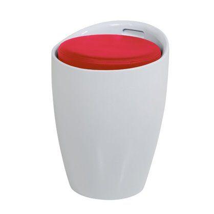 Stołek Minxi z pojemnikiem, biało-czerwony
