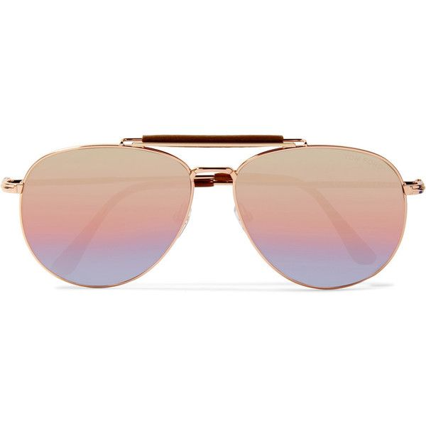 TOM FORD Sean aviator-style rose gold-tone mirrored sunglasses (€385) ❤ liked on Polyvore featuring accessories, eyewear, sunglasses, glasses, pink, mirror lens aviator sunglasses, mirrored sunglasses, heart shaped sunglasses, heart sunglasses and mirrored aviators