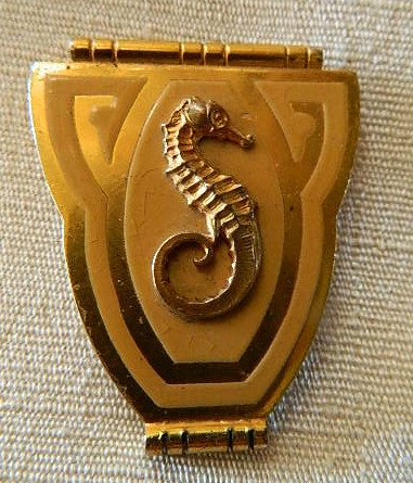 Antique French Art Deco Gold Plated Stamped Scarf Clip