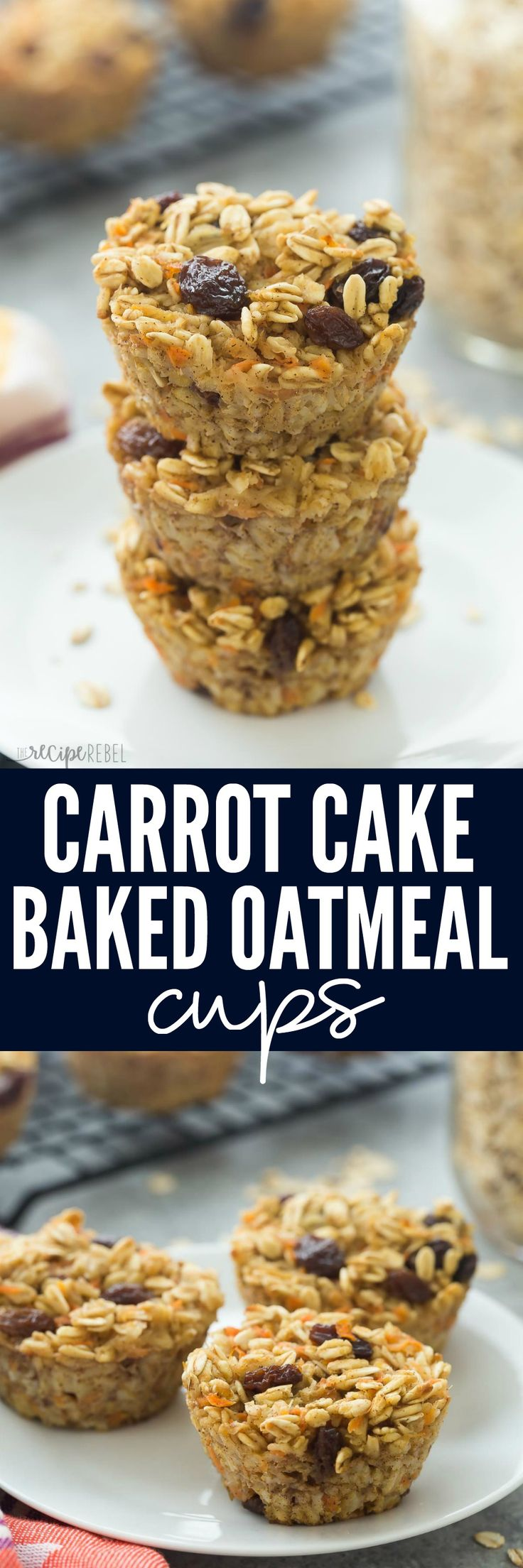 These Carrot Cake Baked Oatmeal Cups are super simple -- a great on the go breakfast, lunch or snack! Packed with fiber and protein and low in calories.