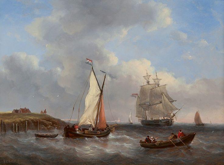 Witzel Opdenhoff - Schepen bij een havenhoofd - Fischer's Auction - since 2015