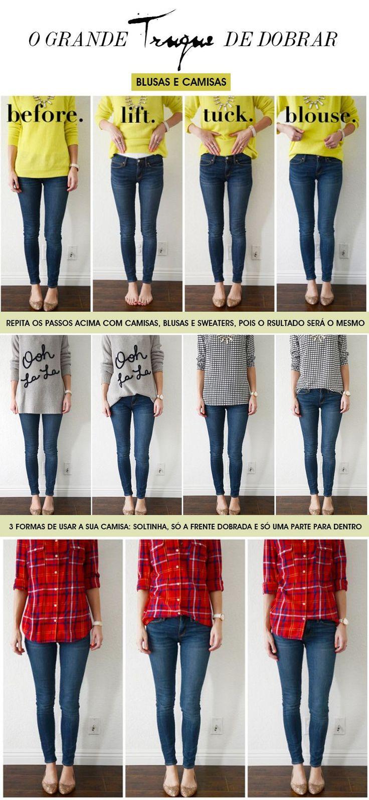 É uma foto guia para mostra como dobrar as camisetas e blusas para que elas fiquem mais modeladas ao corpo. Esse é o famoso truque de styling!