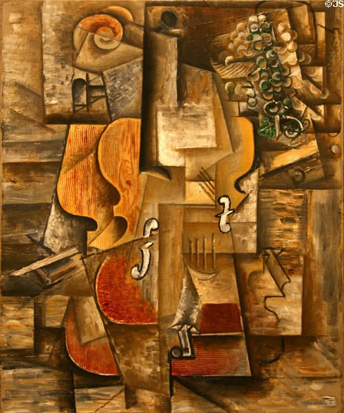 cubism violin and grapes by pablo picasso pablo picasso. Black Bedroom Furniture Sets. Home Design Ideas