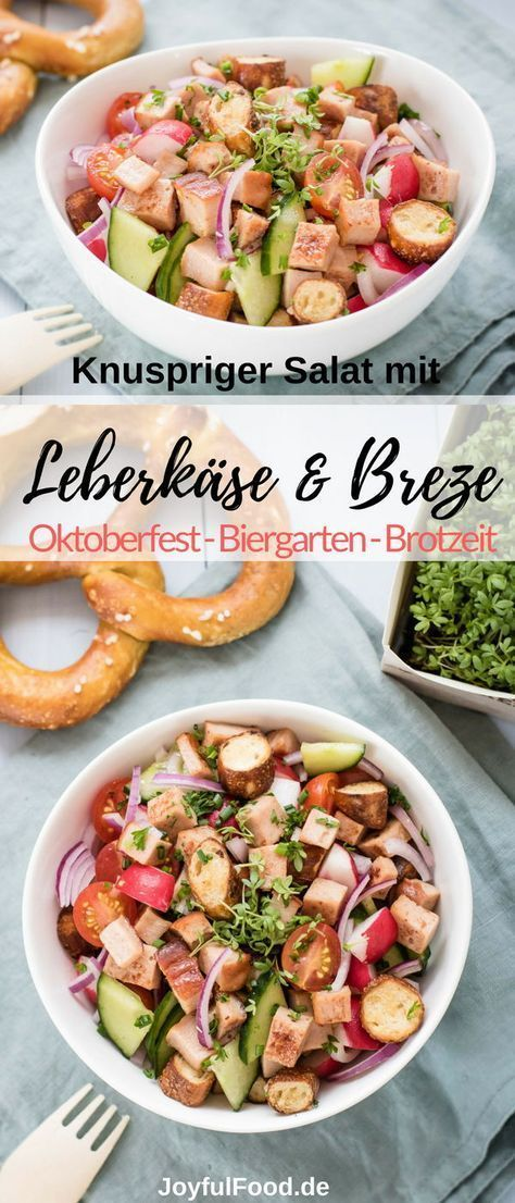 Knuspriger Leberkäse Brezen Salat