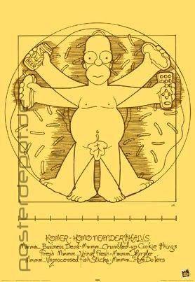 Poster Homer Simpson vitruvianischer Mensch Da Vinci Anatomie 61 x 91,5 cm in Möbel & Wohnen, Dekoration, Bilder & Drucke | eBay
