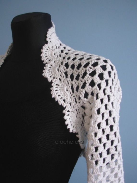 Craft it yourself -  white crocheted shrug pattern  Would look stunning in black.