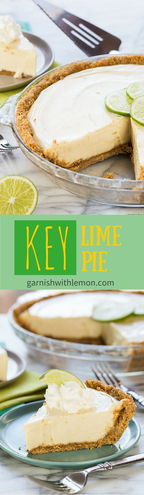 Easy Key Lime Pie Recipe ~ Just 5 ingredients is between you from this delicious and easy dessert recipe! http://www.garnishwithlemon.com