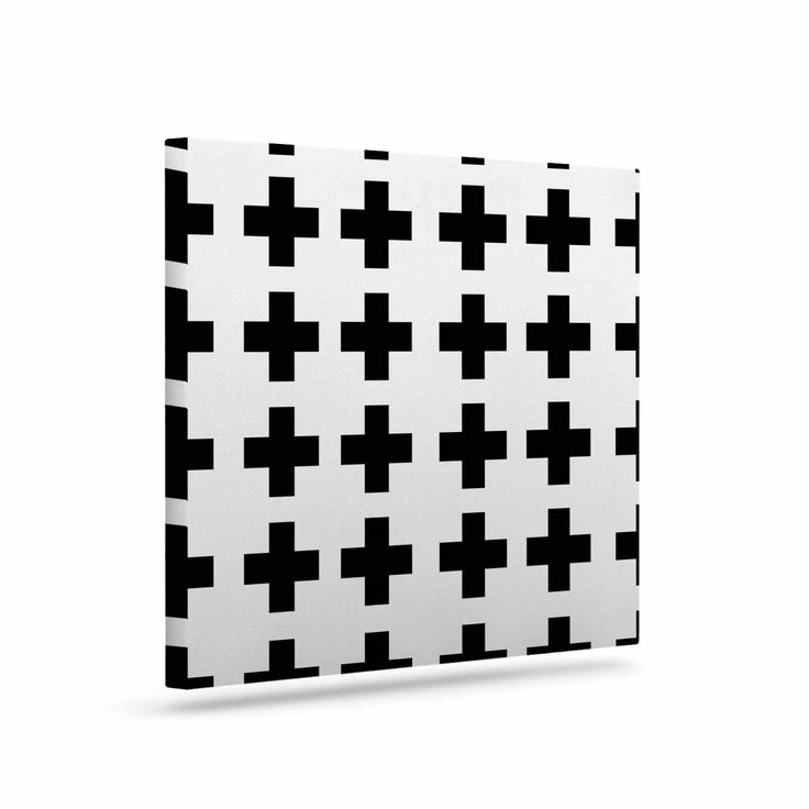 "Suzanne Carter ""Swedish Cross"" Black White Canvas Art"