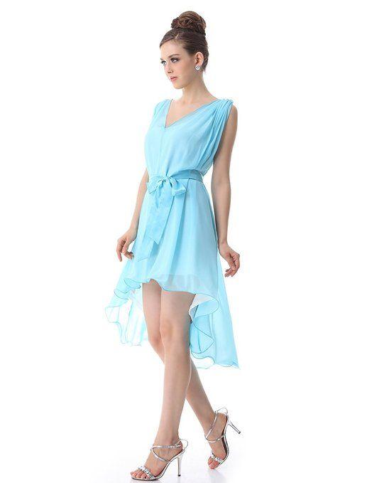 Ever Pretty V-neck High Low Chiffon Casual Dress/Plus Size Cocktail Dress Sexy v-neck high low cocktail dress