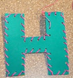 Lacing cards - these ones are alphabet, but could be used for anything if you just do the foam cutout.