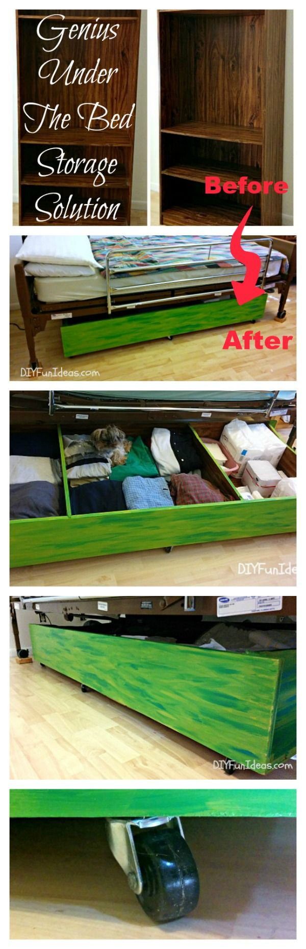 GENIUS DIY UNDER-THE-BED STORAGE SOLUTION from an old book shelf!