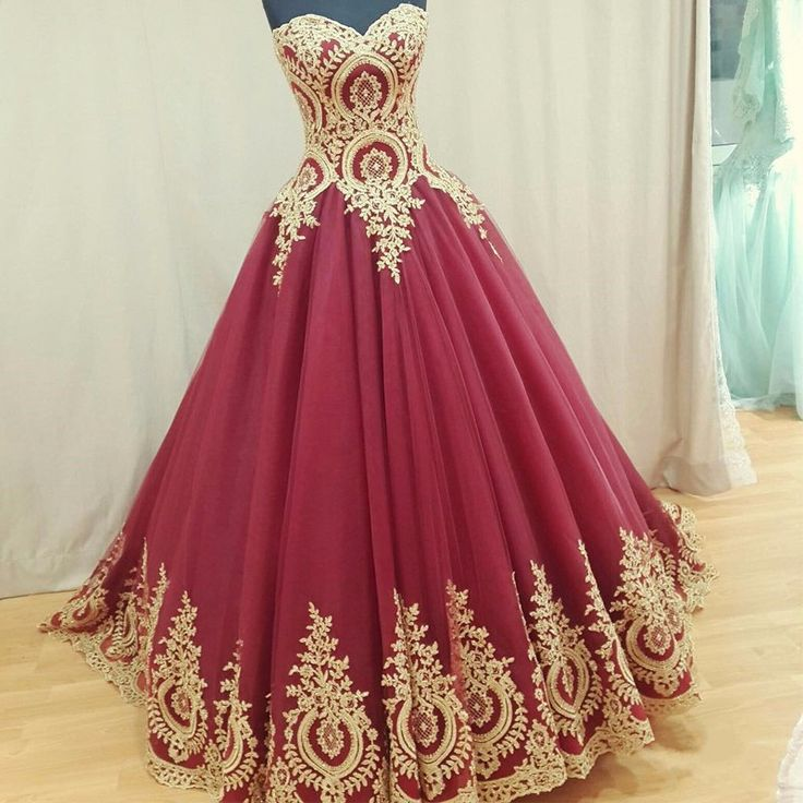 Arabic Style Gold Appliques Sequins Long Dark Red Wedding Dresses, Sexy Sweetheart Backless Long Red Wedding Bridal Gowns, Lace Up Back A Line Cheap Wedding Dress 2017