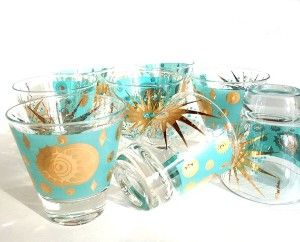 fred press glassware | ... Barware 50s Aqua Shot Low Ball Glasses Gold Celestial Sun Moon Set