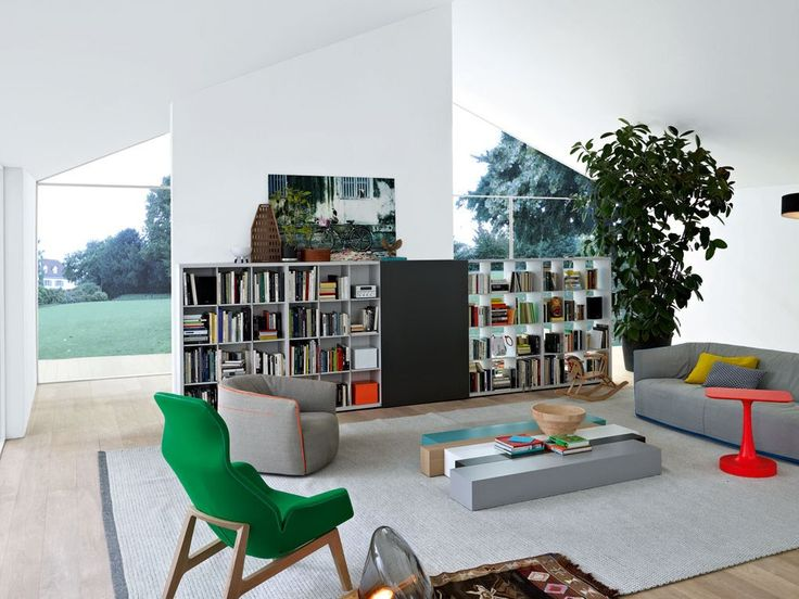 SECTIONAL WOODEN BOOKCASE WALL SYSTEM WALL SYSTEM COLLECTION BY POLIFORM