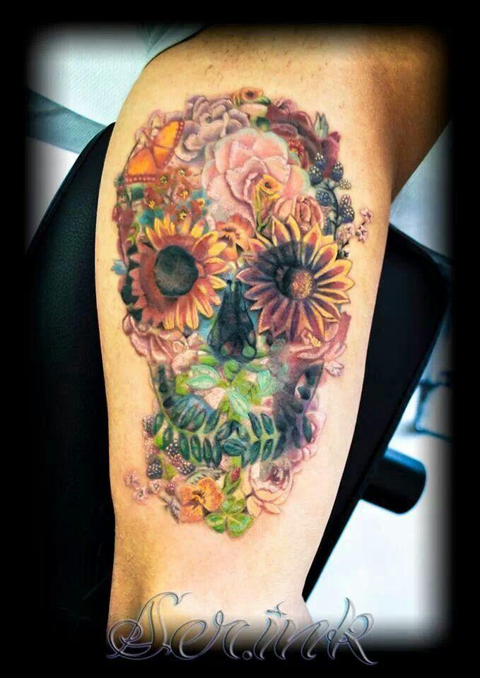 flower sugar skull tattoo - photo #4