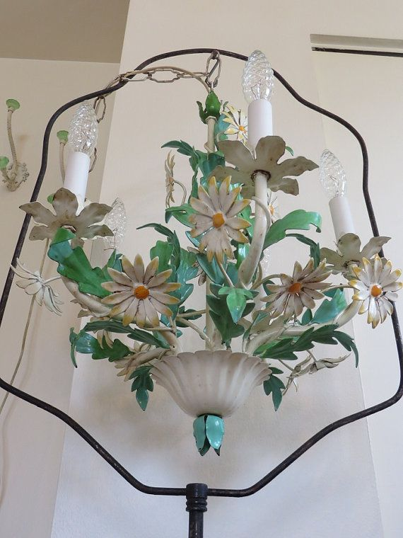 STUNNING Antique Tole DAISY Chandelier Vintage by VintagetownUSA - 22 Best Tole Chandeliers Images On Pinterest Chandeliers, Floral