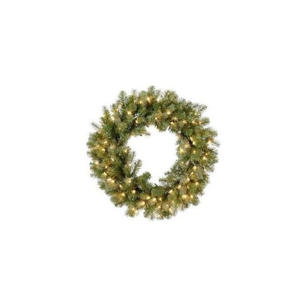 """30 in. """"Feel-Real""""Down Swept Douglas Fir Wreath with 100 Clear... (150 ILS) ❤ liked on Polyvore featuring christmas and wreaths"""
