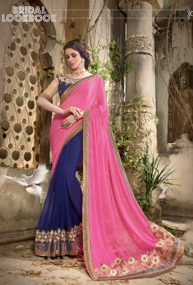 Blue and pink designer party wear saree with blouse