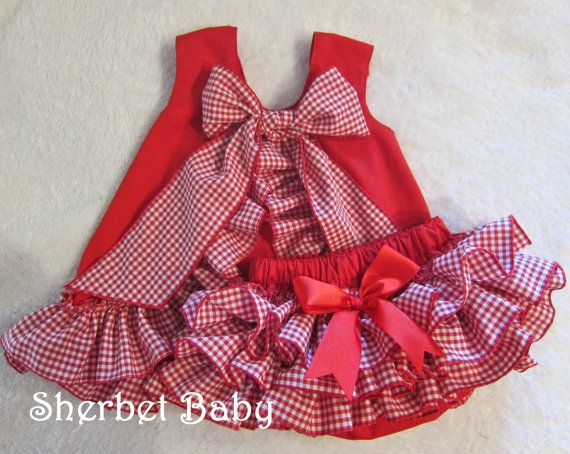Red Gingham Check Ruffled Pinafore and Sassy Pants by SherbetBaby, $68.00