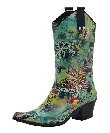 Another great find on #zulily! Green & Teal Serenity Cowboy Rain Boot #zulilyfinds