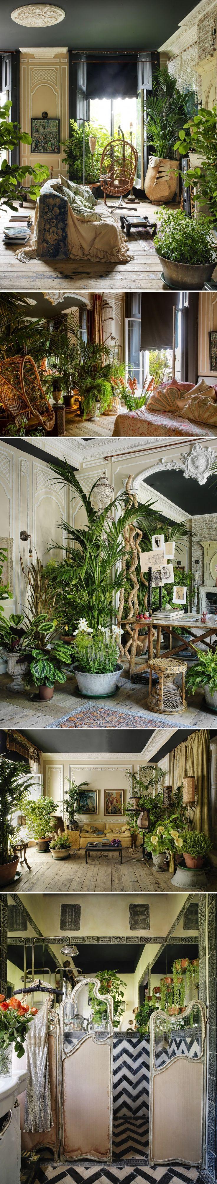 Interior designer Sera Hersham-Loftus's bohemian, plant-filled home in Little Venice, London, UK