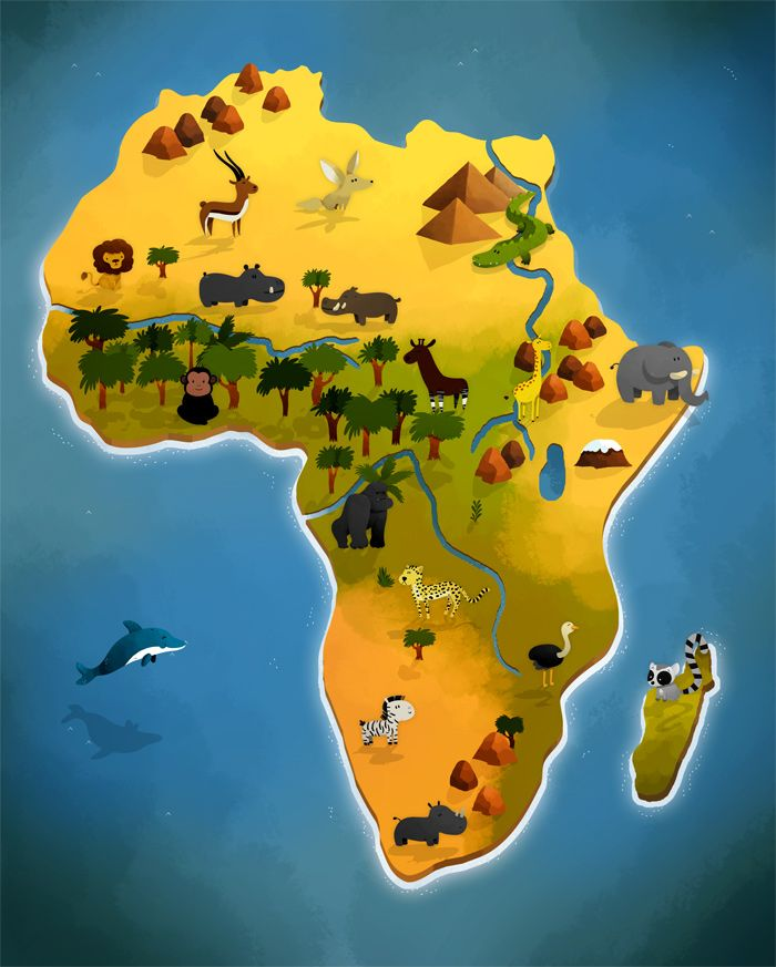 map of africa | map of Africa's animals out of an atlas book for Auzou Editions.