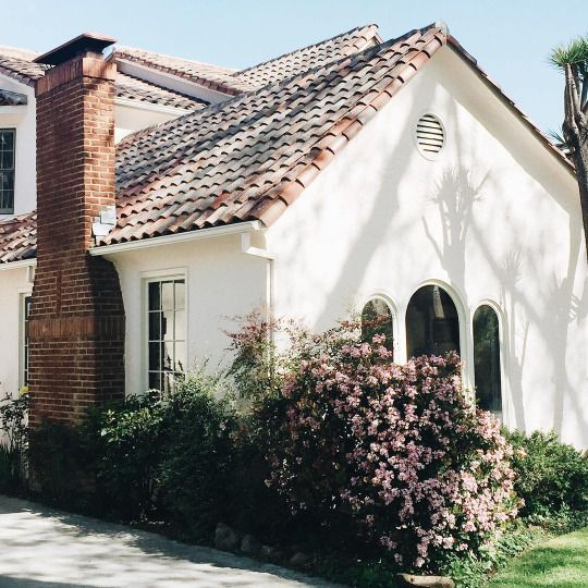 Perfect Little White Plaster House With Spanish Tile Roof And Brick Chimney