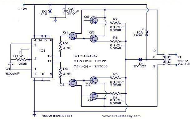 CD4017 100-Watt Inverter 12DC to 220AC | Circuit diagram ...