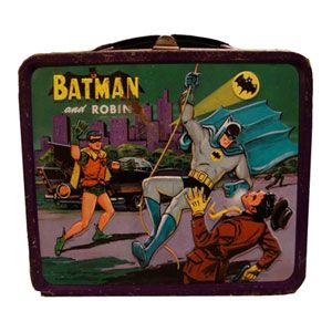 Batman -Holy awesome lunchbox, Batman! The trusty sidekick Robin cheers from the wings as Batman takes care of business. We imagine many lunchtime capers inspired by this dynamic duo.