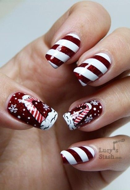 Christmas nail designs candy cane pictures