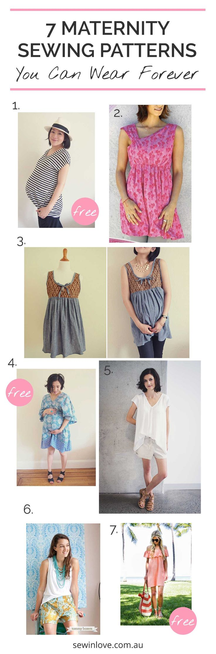 Maternity Sewing Patterns (3 are FREE) | Here's 7 sewing patterns you can make and wear during and beyond pregnancy.