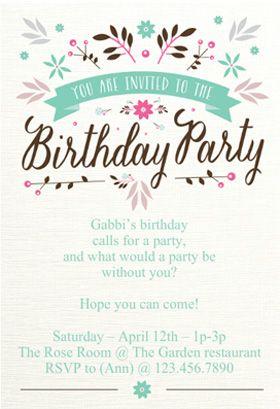 Free Printable Birthday Invitation - Flat floral | Greetings Island