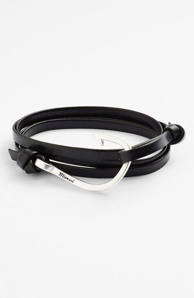 Miansai Silver Hook Leather Bracelet Available At