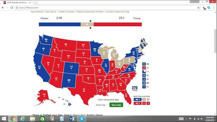 Electoral Map Prediction Trump Vs Clinton Weeks From - Map of us vote 2016 dumb