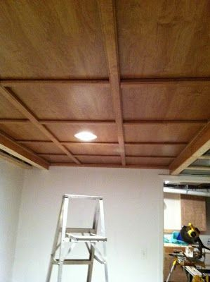 Found this awesome idea for a drop ceiling remodel! So going to do this when we get extra money! Life & Memories: On the Home Front: Remodeling
