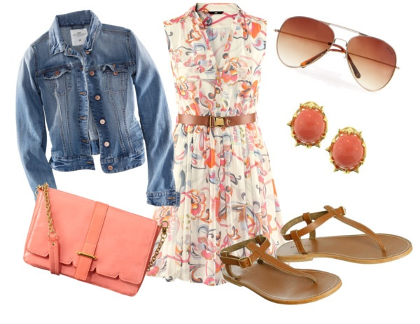 H floral dress w/ denim jacket