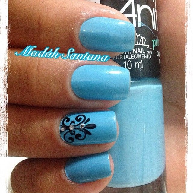 Sky blue nails with black scroll accent nail. - Best 25+ Sky Blue Nails Ideas On Pinterest Baby Blue Nails